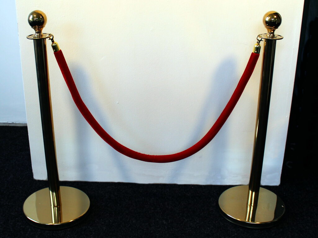 Gold Coloured Stainless Steel Queue Barrier Posts